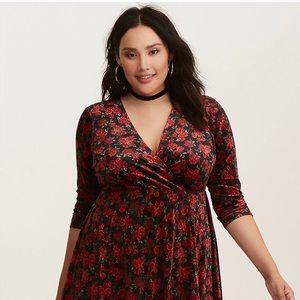 TORRID black red velvet floral faux wrap dress 2X